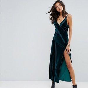 NWT Free People Spliced Velvet Split Maxi Dress